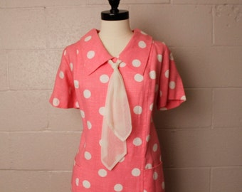 Vintage 1960's Mode O Day Pink White Polka Dot Mini Dress L