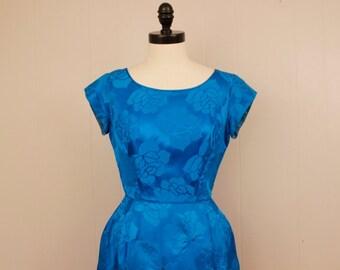 Vintage 1950's 1960's Blue Satin Brocade Dress Small 26 waist