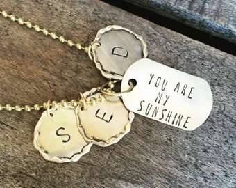 SALE     Hand Stamped Dog Tag Brass You Are My Sunshine