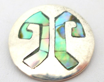 Sterling BUTTON, Silver & abalone shell, 20mm. Taxco 925
