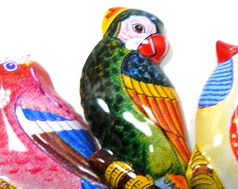 3 Tin Toy BIRD pins, 1960s Japanese costume jewelry with parrot, parakeet.