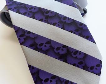 RokGear Custom Skull tie  LIMITED design Mens skull stripe necktie