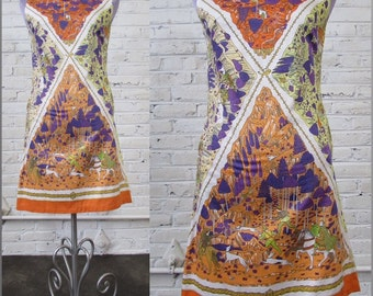 1960s Pucci-esque Psychedelic Medieval Hunting Scene Print Shift Dress, size S