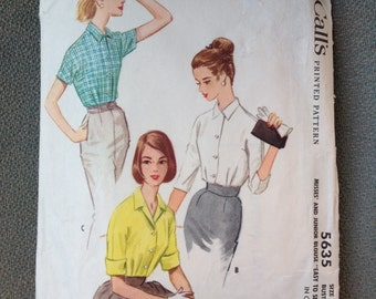 Vintage 1950s Blouse Pattern by McCalls...5635 size 12, Bust 32