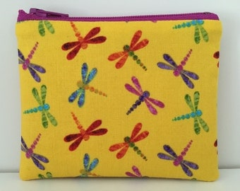 Dragonflies Coin Purse - Cotton Change Purse - Small Zipper Pouch - Summer