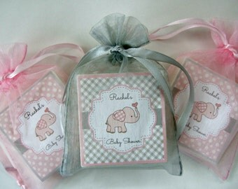 Baby Shower Favors, Elephant Favors, Pink and Gray, Soap Favors, set of 10