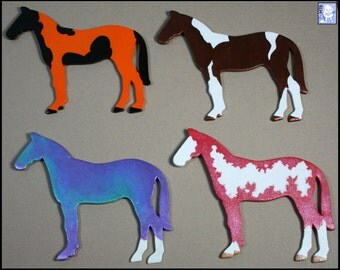 CUSTOM Wooden Horse Magnet - Any Color! (Portrait, Tobiano, Overo, Appaloosa, Bay, Rainbow, etc.)