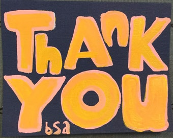 Thank You notecard Yellow on Navy
