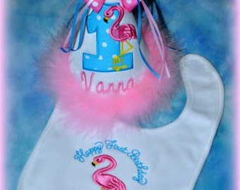 FLAMINGO First Birthday Hat, and Bib, 2 pic. Set, Flamingo Birthday Hat, Flamingo Bib,  You choose colors,  by GINGHAM BUNNY