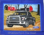 Ford Pickup Black Truck HUGH Farm Red Barn Scenic BY YARDS Panel Cotton Fabric