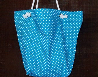 """Bag/Purse-16 x 13 inch-""""Going Too"""" Bag---Bright Parakeet Blue with White Polka Dots"""