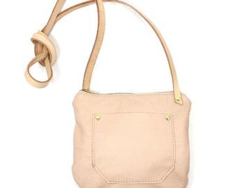 ATP Round Crossbody - Soft Rose Quartz Leather Small Crossbody Bag- Ready to Ship