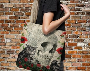 "Sugar Skull Tote Bag Over Sized 18"" x 18""  Gothic Skull, Roses, Owl, Poppies, Crow"