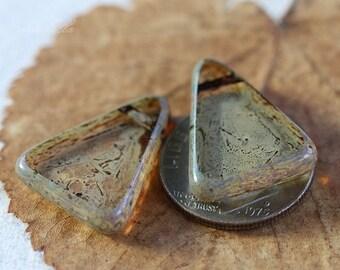 10% off HAPPY SPLASH TRIANGLES .. 2 Picasso Czech Glass Triangle Beads 15x19mm (3725-2)