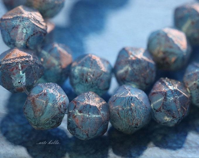 PENELOPE No. 3 .. 20 Picasso Czech Glass English Cut Beads 8mm (5217-st)