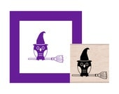 Halloween Owl Witch on a Broom Rubber Stamp