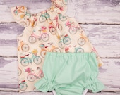 Baby Girl Clothes, Toddler Girl Clothes, Newborn Girl Coming Home Outfit,  Baby Shower,  Flutter Top and Diaper Cover in Vintage Bicycles