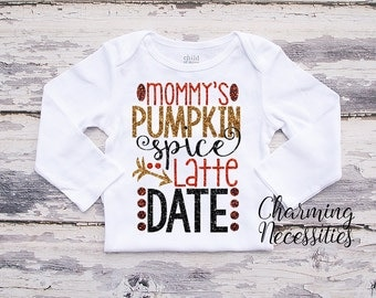 Fall Thanksgiving Baby Girl Shirt, Coming Home,Toddler Girl Shirt, Baby Shower Gift, Mommys Pumpkin Spice Latte Date Charming Necessities