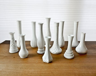 Wedding Decorations, Wedding Table Decor, Milk Glass Vases, Set of 12