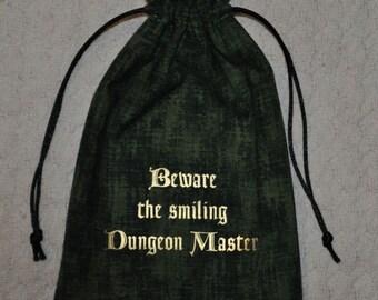 Dungeons and Dragons BEWARE smiling DM game dice bag