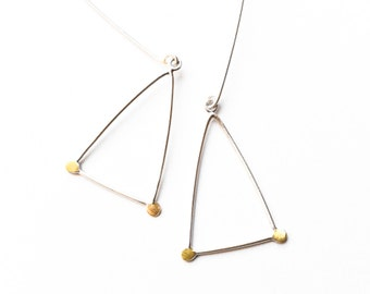 Sterling Triangle Earrings, Triangle Earrings, Dangle Earrings, Geometric Earrings, Modern, Minimalist Earrings, Wearable Art Jewelry,