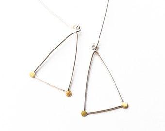 Sterling Triangle Earrings, Triangle Earrings, Dangle Earrings, Geometric Earrings, Modern, Minimalist Earrings, Wearable Art Jewelry,