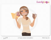 Woman with book and coffee mug, character clipart digital PNG clip art (Gabby 632)