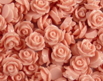 CLEARANCE Cabochon Flower 20 Resin Round Rose Vintage Pink Flower 10mm (1017cab10m8-3)os