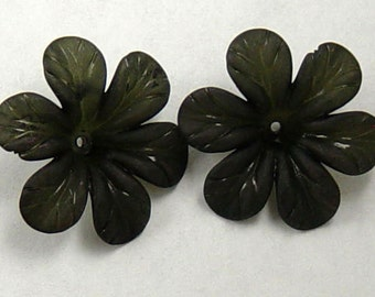 Acrylic Bead 8 Black Star Daisy Flower 6-Petal Point Frosted 33mm (1022luc33m3-5)