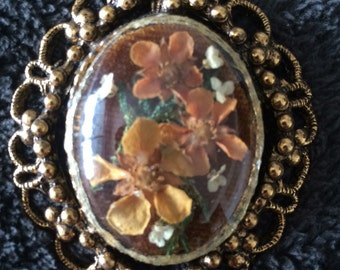 Vintage dried flower brooch