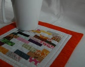 Mug Rug Coaster Art Quilt or Mini Quilt Bits and Pieces  Colored Tiles