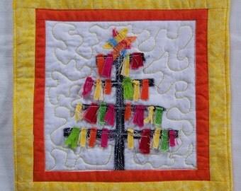 Scrappy  Christmas Tree Coaster,Mini Quilt or  Mug Rug #1