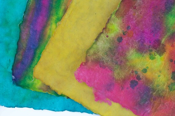 Handmade Paper Fiber Art Colorful Painted Paper Abstract 11x14 Yellow Blue Striped Colors Bold Design Acrylic Paints