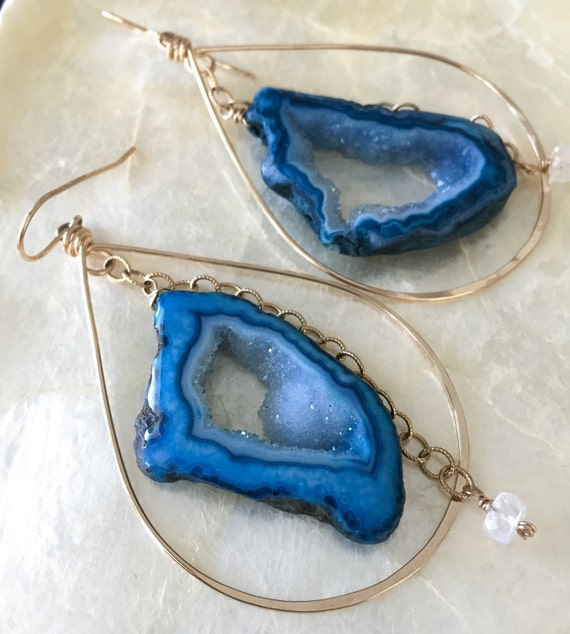 Druzy Earrings, Gold Hoop Earrings, Geode Earrings, Cobalt Blue Earrings, Colorful Jewelry, Drusy Earrings, Druzy Hoop Earrings