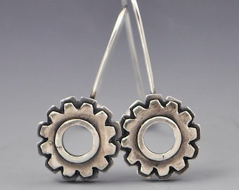Problem-Solving Gear Sterling Silver Affirmation Earrings
