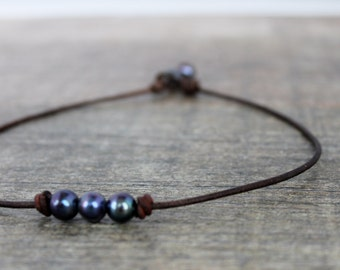 leather Pearls Necklace/3 wishes Pearls Necklace/ Coastal Necklace/ Simple Classic