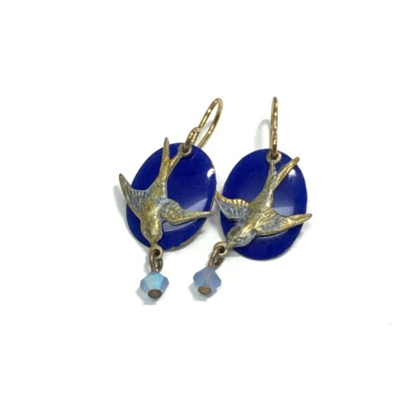 Birds painted light blue and gold with cobalt blue ovals earrings