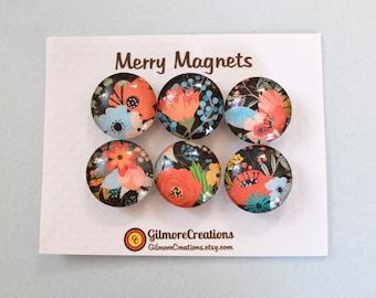 """Set of Magnets   Fridge Magnets  Glass Magnets  """"Summer Joy"""""""