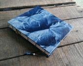 Medium Blue Crinkled Lokta Journal, Handmade Blank Coptic Stitch Art Journal, Blue Crinkled Lokta Sketchbook, Lokta Wedding Guest Book