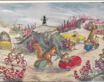 Animals, Here we go round the roundabout vintage postcard. Molly Brett postcard, 281 vintage postcard, SharonFosterVintage