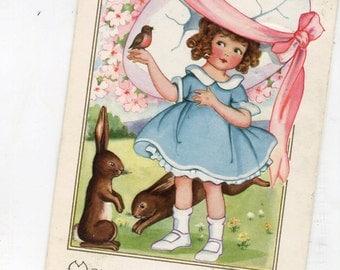 Easter postcard, vintage postcard, Cute girl with Easter egg bonnet, Easter bunny rabbits vintage postcard