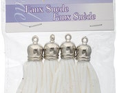 4 Pieces Faux Suede Tassel with Silver Cap  - White 55mm (2760701)