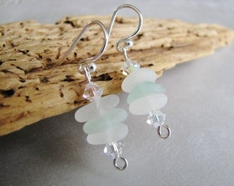 Sea Glass Earrings - Seafoam and White Stacked Beach Glass - Dangle Earrings - Beach Glass Jewelry