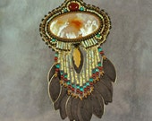Necklace, Bead Embroidered Necklace, Graveyard Polint Plume Agate with Brass Patina Dangles with Turquoise and Carnelian, one-of-a-kind
