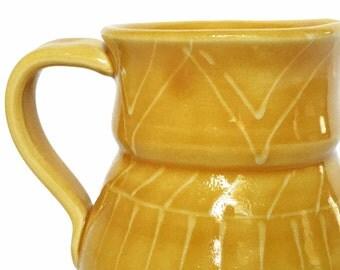 Vintage Italian Mancer for Raymor Yellow Ceramic Pitcher