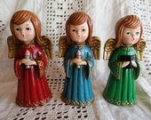 3 Vintage Caroling Christmas Angels, Mod, Red, Blue and Green with Jewels, Paper Maiche