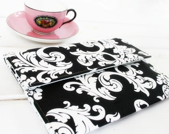 iPad Cover, iPad Pro Case, ipad mini Sleeve,tablet sleeve, Made to FIT ANY BRAND tablet, iPad 2 or iPad 3 Cover, in Black and Whtie Damask