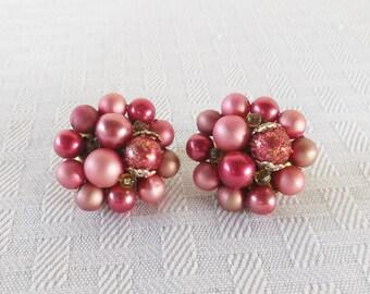 50s 60s Vintage Raspberry Cluster Clip On Earrings Japan
