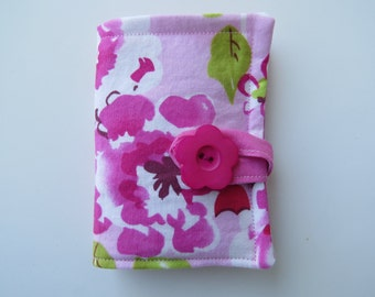 Tea Wallet in Pink and White Watercolor Style Flower on a Pink Background Tea Bag Holder