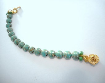 Cone Bracelet ~ Turquoise Green Picasso, Czech glass Tipp beads ... #642